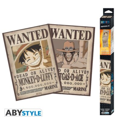 Wanted Luffy and Ace Chibi Posters
