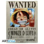 one-piece-metal-plate-luffy-wanted-28×38
