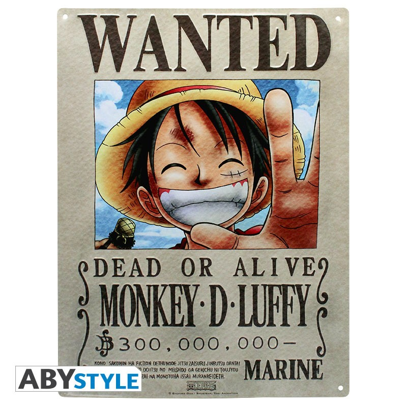 One Piece Wanted Luffy Metal Plate