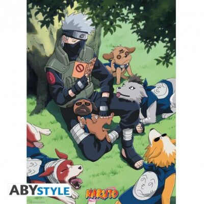 Naruto Kakashi with Dogs Poster
